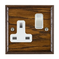 Hamilton Woods Ovolo Dark Oak 1 Gang 13A Switched Socket with White Insert
