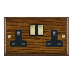 Hamilton Woods Ovolo Dark Oak 2 Gang 13A Switched Socket with Black Insert