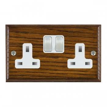 Hamilton Woods Ovolo Dark Oak 2 Gang 13A Switched Socket with White Insert