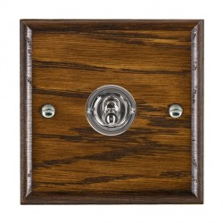 Hamilton Woods Ovolo Dark Oak 1 Gang 2 Way Toggle with Bright Chrome Insert