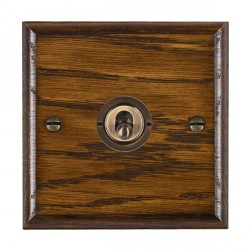Hamilton Woods Ovolo Dark Oak 1 Gang 2 Way Toggle with Antique Brass Insert