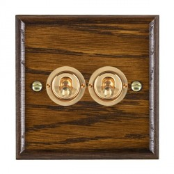 Hamilton Woods Ovolo Dark Oak 2 Gang 2 Way Toggle with Polished Brass Insert