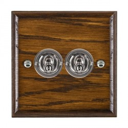 Hamilton Woods Ovolo Dark Oak 2 Gang 2 Way Toggle with Bright Chrome Insert