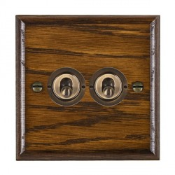 Hamilton Woods Ovolo Dark Oak 2 Gang 2 Way Toggle with Antique Brass Insert