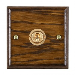 Hamilton Woods Ovolo Dark Oak 1 Gang Intermediate Toggle with Polished Brass Insert