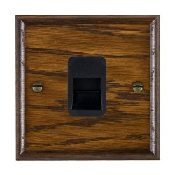 Hamilton Woods Ovolo Dark Oak 1 Gang Telephone Slave Outlet with Black Insert