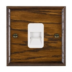 Hamilton Woods Ovolo Dark Oak 1 Gang Telephone Slave Outlet with White Insert