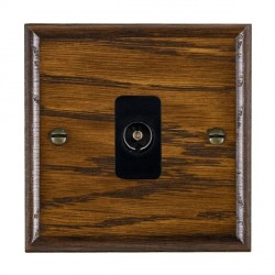 Hamilton Woods Ovolo Dark Oak 1 Gang Non Isolated TV 1 in/1 Out Outlet with Black Insert