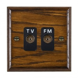 Hamilton Woods Ovolo Dark Oak 2 Gang Isolated TV/FM 1 in/2 out Outlet with Black Insert