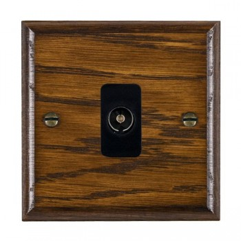 Hamilton Woods Ovolo Dark Oak 1 Gang Isolated TV 1 in/1 out Outlet with Black Insert