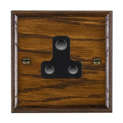 Hamilton Woods Ovolo Dark Oak 1 Gang 5A Unswitched Socket with Black Insert