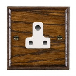 Hamilton Woods Ovolo Dark Oak 1 Gang 5A Unswitched Socket with White Insert