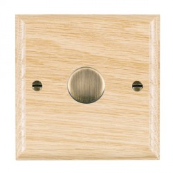 Hamilton Woods Ovolo Light Oak 1 Gang 2 way 200VA Dimmer with Antique Brass Insert