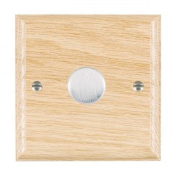 Hamilton Woods Ovolo Light Oak 1 Gang 2 way 400W Dimmer with Satin Chrome Insert