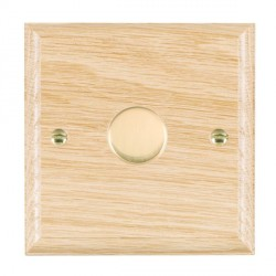 Hamilton Woods Ovolo Light Oak 1 Gang 2 way 600W Dimmer with Polished Brass Insert