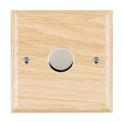 Hamilton Woods Ovolo Light Oak 1 Gang 2 way 600W Dimmer with Bright Chrome Insert