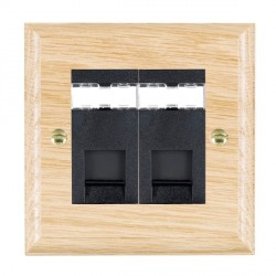 Hamilton Woods Ovolo Light Oak 2 Gang RJ45 Cat 5E Unshielded Outlet with Black Insert