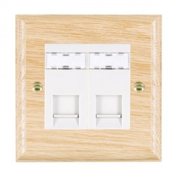 Hamilton Woods Ovolo Light Oak 2 Gang RJ45 Cat 5E Unshielded Outlet with White Insert