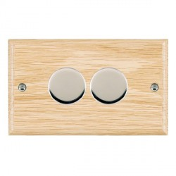 Hamilton Woods Ovolo Light Oak 2 Gang 2 way 400W Dimmer with Bright Chrome Insert