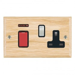 Hamilton Woods Ovolo Light Oak 1 Gang 45A Double Pole Red + Neon + 1 Gang 13A Switched Socket with Black ...