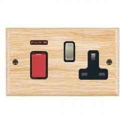Hamilton Woods Ovolo Light Oak 1 Gang 45A Double Pole Red + Neon + 1 Gang 13A Switched Socket with Black Insert