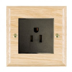 Hamilton Woods Ovolo Light Oak 1 Gang 15A 127V American Unswitched Socket with Black Insert