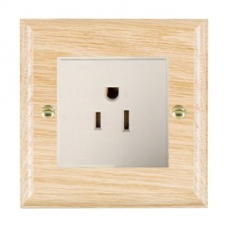 Hamilton Woods Ovolo Light Oak 1 Gang 15A 127V American Unswitched Socket with White Insert