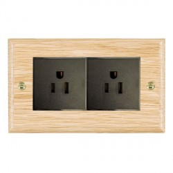 Hamilton Woods Ovolo Light Oak 2 Gang 15A 127V American Unswitched Socket with Black Insert