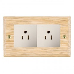 Hamilton Woods Ovolo Light Oak 2 Gang 15A 127V American Unswitched Socket with White Insert