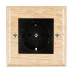 Hamilton Woods Ovolo Light Oak 1 Gang 10/16A German Unswitched Socket with Black Insert