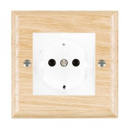Hamilton Woods Ovolo Light Oak 1 Gang 10/16A German Unswitched Socket with White Insert