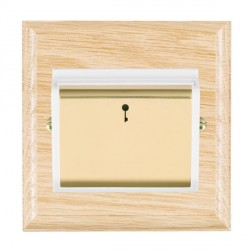 Hamilton Woods Ovolo Light Oak 1 Gang On/Off 10A Hotel Card Switch with White Insert