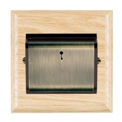 Hamilton Woods Ovolo Light Oak 1 Gang On/Off 10A Hotel Card Switch with Black Insert