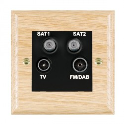 Hamilton Woods Ovolo Light Oak 1 Gang TV + 1 Gang Satellite + 1 Gang Satellite + 1 Gang FM Outlet with Black Insert