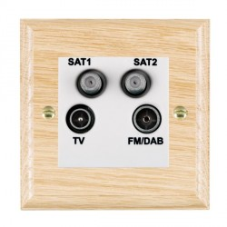 Hamilton Woods Ovolo Light Oak 1 Gang TV + 1 Gang Satellite + 1 Gang Satellite + 1 Gang FM Outlet with Wh...