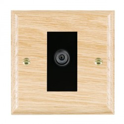Hamilton Woods Ovolo Light Oak 1 Gang Digital Satellite 'F' Type Outlet with Black Insert
