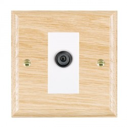 Hamilton Woods Ovolo Light Oak 1 Gang Digital Satellite 'F' Type Outlet with White Insert