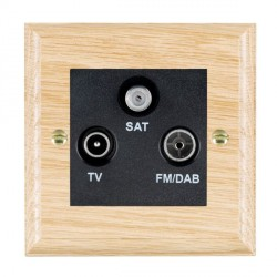 Hamilton Woods Ovolo Light Oak 1 Gang TV + 1 Gang FM + 1 Gang Satellite Outlet with Black Insert