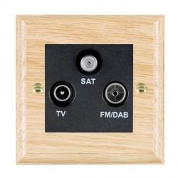 Hamilton Woods Ovolo Light Oak 1 Gang TV + 1 Gang FM + 1 Gang Satellite Outlet with Black Insert