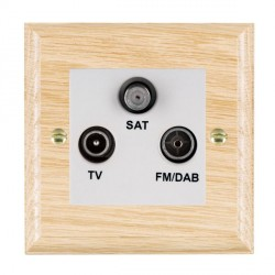 Hamilton Woods Ovolo Light Oak 1 Gang TV + 1 Gang FM + 1 Gang Satellite Outlet with White Insert