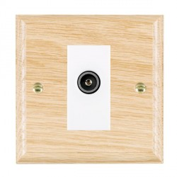 Hamilton Woods Ovolo Light Oak 1 Gang TV (Female) Outlet with White Insert