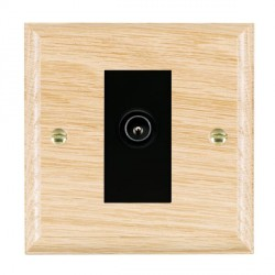 Hamilton Woods Ovolo Light Oak 1 Gang TV (Male) Outlet with Black Insert