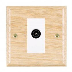 Hamilton Woods Ovolo Light Oak 1 Gang TV (Male) Outlet with White Insert