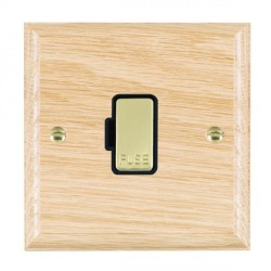 Hamilton Woods Ovolo Light Oak 1 Gang 13A Fuse Only with Black Insert