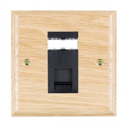 Hamilton Woods Ovolo Light Oak 1 Gang RJ45 Cat 5E Unshielded Outlet with Black Insert