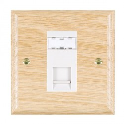 Hamilton Woods Ovolo Light Oak 1 Gang RJ45 Cat 5E Unshielded Outlet with White Insert