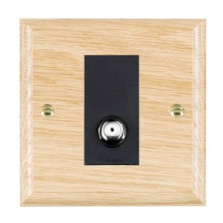 Hamilton Woods Ovolo Light Oak 1 Gang Isolated Satellite Outlet with Black Insert