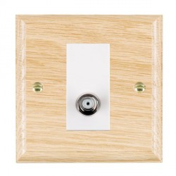 Hamilton Woods Ovolo Light Oak 1 Gang Isolated Satellite Outlet with White Insert