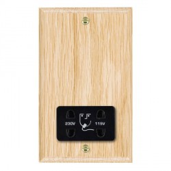 Hamilton Woods Ovolo Light Oak Dual Voltage Shaver Socket with Black Insert
