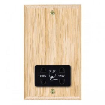 Hamilton Woods Ovolo Light Oak Dual Voltage Shaver Socket with Black Insert